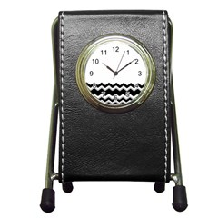 Chevrons Black Pattern Background Pen Holder Desk Clocks by Amaryn4rt