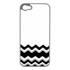 Chevrons Black Pattern Background Apple Iphone 5 Case (silver) by Amaryn4rt