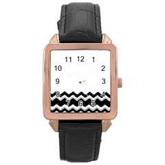 Chevrons Black Pattern Background Rose Gold Leather Watch  by Amaryn4rt