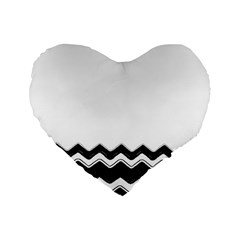 Chevrons Black Pattern Background Standard 16  Premium Flano Heart Shape Cushions by Amaryn4rt