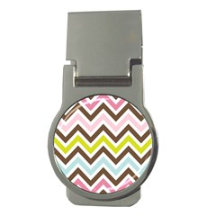 Chevrons Stripes Colors Background Money Clips (round)  by Amaryn4rt