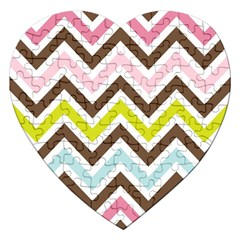 Chevrons Stripes Colors Background Jigsaw Puzzle (heart) by Amaryn4rt