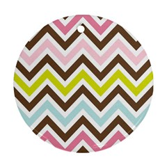 Chevrons Stripes Colors Background Round Ornament (two Sides) by Amaryn4rt