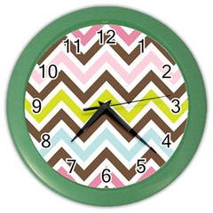 Chevrons Stripes Colors Background Color Wall Clocks by Amaryn4rt