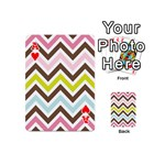 Chevrons Stripes Colors Background Playing Cards 54 (Mini)  Front - HeartA