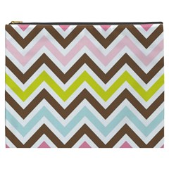 Chevrons Stripes Colors Background Cosmetic Bag (xxxl)  by Amaryn4rt