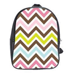 Chevrons Stripes Colors Background School Bags (xl)  by Amaryn4rt