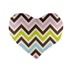 Chevrons Stripes Colors Background Standard 16  Premium Heart Shape Cushions by Amaryn4rt