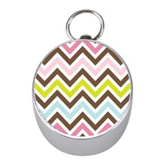 Chevrons Stripes Colors Background Mini Silver Compasses by Amaryn4rt