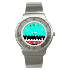 Pattern Digital Painting Lines Art Stainless Steel Watch by Amaryn4rt