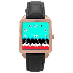 Pattern Digital Painting Lines Art Rose Gold Leather Watch  by Amaryn4rt