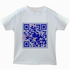 Digital Computer Graphic Qr Code Is Encrypted With The Inscription Kids White T Shirts