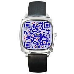 Digital Computer Graphic Qr Code Is Encrypted With The Inscription Square Metal Watch by Amaryn4rt