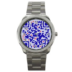Digital Computer Graphic Qr Code Is Encrypted With The Inscription Sport Metal Watch by Amaryn4rt