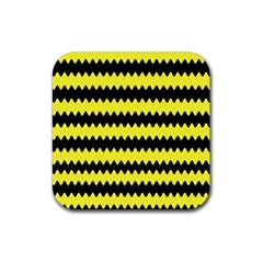 Yellow Black Chevron Wave Rubber Square Coaster (4 Pack)  by Amaryn4rt