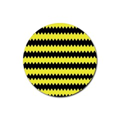 Yellow Black Chevron Wave Rubber Coaster (round)  by Amaryn4rt
