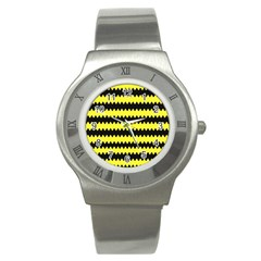 Yellow Black Chevron Wave Stainless Steel Watch by Amaryn4rt
