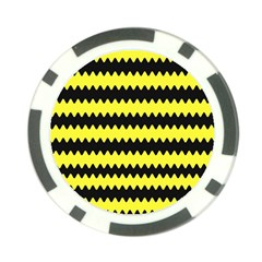 Yellow Black Chevron Wave Poker Chip Card Guard by Amaryn4rt