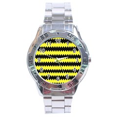 Yellow Black Chevron Wave Stainless Steel Analogue Watch by Amaryn4rt