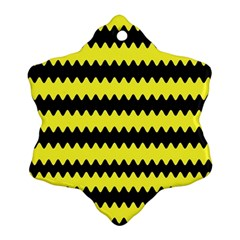 Yellow Black Chevron Wave Snowflake Ornament (two Sides) by Amaryn4rt