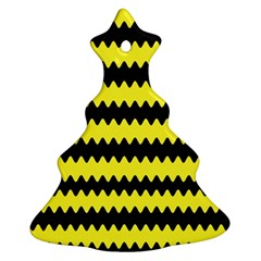 Yellow Black Chevron Wave Christmas Tree Ornament (two Sides) by Amaryn4rt