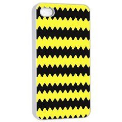 Yellow Black Chevron Wave Apple Iphone 4/4s Seamless Case (white) by Amaryn4rt
