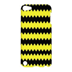 Yellow Black Chevron Wave Apple Ipod Touch 5 Hardshell Case by Amaryn4rt