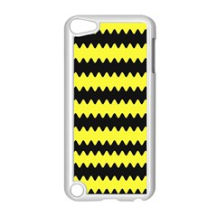 Yellow Black Chevron Wave Apple Ipod Touch 5 Case (white) by Amaryn4rt
