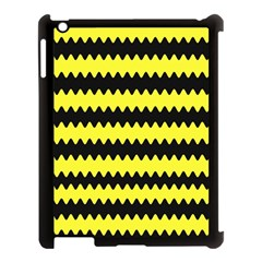 Yellow Black Chevron Wave Apple Ipad 3/4 Case (black) by Amaryn4rt