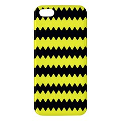 Yellow Black Chevron Wave Apple Iphone 5 Premium Hardshell Case by Amaryn4rt