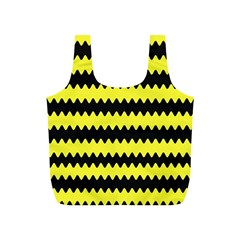 Yellow Black Chevron Wave Full Print Recycle Bags (s)