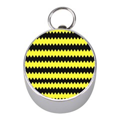Yellow Black Chevron Wave Mini Silver Compasses by Amaryn4rt