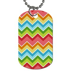 Colorful Background Of Chevrons Zigzag Pattern Dog Tag (two Sides) by Amaryn4rt