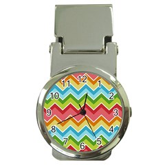 Colorful Background Of Chevrons Zigzag Pattern Money Clip Watches by Amaryn4rt