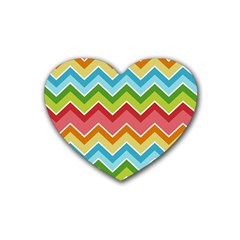 Colorful Background Of Chevrons Zigzag Pattern Heart Coaster (4 Pack)  by Amaryn4rt