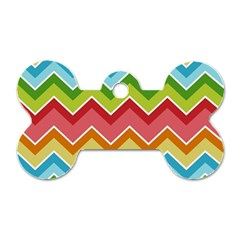 Colorful Background Of Chevrons Zigzag Pattern Dog Tag Bone (one Side)