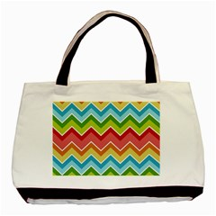 Colorful Background Of Chevrons Zigzag Pattern Basic Tote Bag (two Sides) by Amaryn4rt