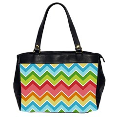 Colorful Background Of Chevrons Zigzag Pattern Office Handbags (2 Sides)  by Amaryn4rt
