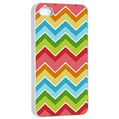 Colorful Background Of Chevrons Zigzag Pattern Apple Iphone 4/4s Seamless Case (white) by Amaryn4rt