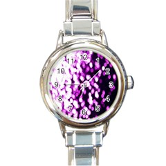 Bokeh Background In Purple Color Round Italian Charm Watch by Amaryn4rt