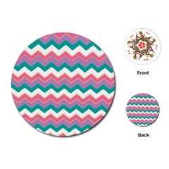 Chevron Pattern Colorful Art Playing Cards (round)  by Amaryn4rt