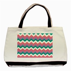 Chevron Pattern Colorful Art Basic Tote Bag (two Sides) by Amaryn4rt