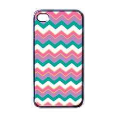 Chevron Pattern Colorful Art Apple Iphone 4 Case (black) by Amaryn4rt