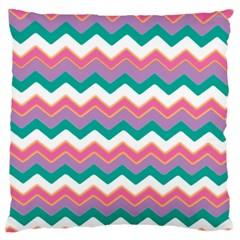 Chevron Pattern Colorful Art Large Cushion Case (one Side) by Amaryn4rt