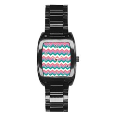 Chevron Pattern Colorful Art Stainless Steel Barrel Watch by Amaryn4rt