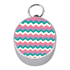 Chevron Pattern Colorful Art Mini Silver Compasses by Amaryn4rt