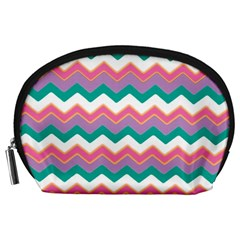 Chevron Pattern Colorful Art Accessory Pouches (large)  by Amaryn4rt