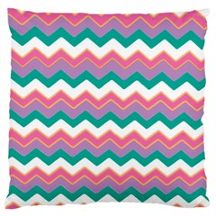 Chevron Pattern Colorful Art Large Flano Cushion Case (one Side) by Amaryn4rt