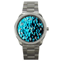 Bokeh Background In Blue Color Sport Metal Watch by Amaryn4rt