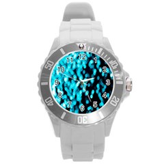 Bokeh Background In Blue Color Round Plastic Sport Watch (l) by Amaryn4rt
